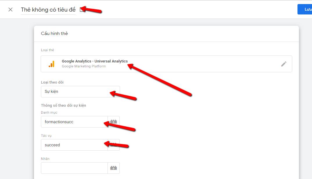 tạo thẻ bắt trình kích hoạt submit contact