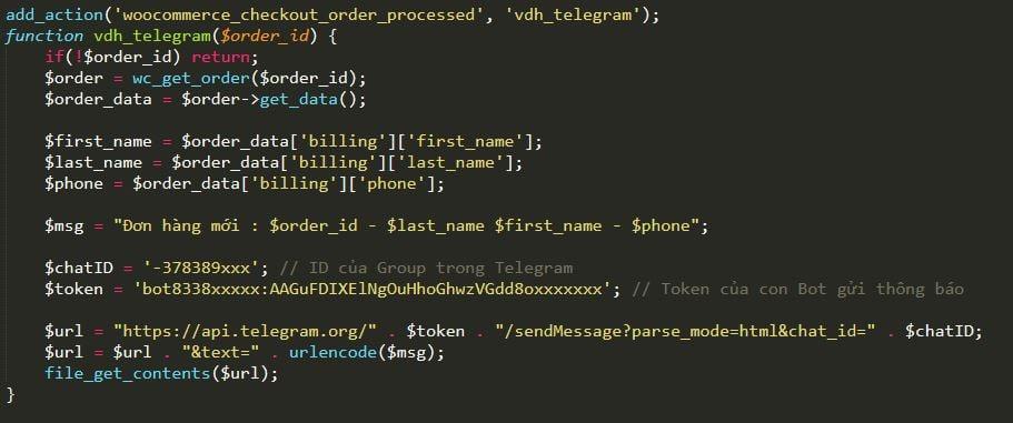 Code thông báo đơn hàng mới thông qua Telegram